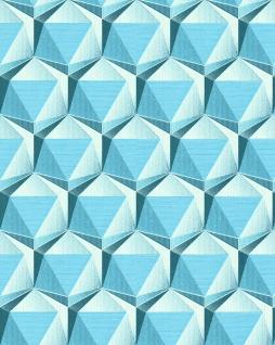 Retro Tapete EDEM 1050-12 Vinyltapete leicht strukturiert mit geometrischen Formen dezent glitzernd creme licht-blau ozean-blau 5, 33 m2