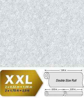 Uni Tapete EDEM 9076-20 Vliestapete geprägt in Spachteloptik und Metallic Effekt weiß 10, 65 m2