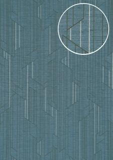 Grafik Tapete ATLAS XPL-565-4 Vliestapete strukturiert mit geometrischen Formen schimmernd blau grau anthrazit-grau silber 5, 33 m2