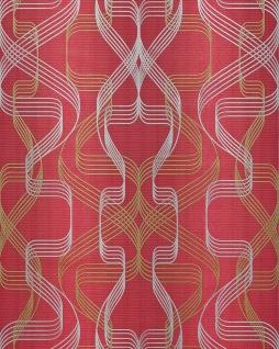 Grafik-Tapete EDEM 507-24 Designer Tapete strukturiert mit abstraktem Muster und metallischen Akzenten rubin-rot perl-gold silber 5, 33 m2