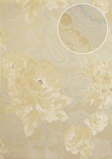Blumen Tapete Atlas TEM-5109-2 Vliestapete strukturiert mit Paisley Muster schimmernd beige elfenbein weiß pastell-blau 7, 035 m2