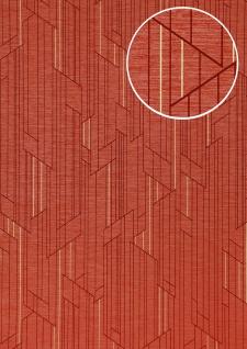 Grafik Tapete ATLAS XPL-565-2 Vliestapete strukturiert mit geometrischen Formen schimmernd rot erdbeer-rot rubin-rot gold 5, 33 m2