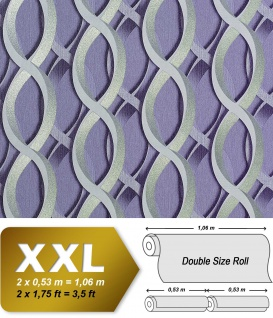Retro Tapete Vliestapete EDEM 601-92 XXL Designer 70er grafische 3D Muster retro abstrakt hell-lila silber grau 10, 65 qm