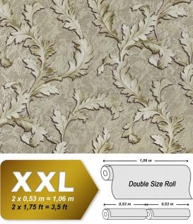 Blumen Tapete EDEM 9010-38 Vliestapete geprägt im Barock-Stil glänzend grau grün silber 10, 65 m2