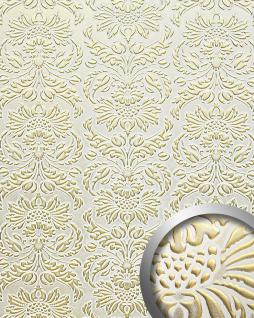 Wandpaneel Luxus 3D WallFace 14793 Imperial Leder Dekor Barock Damask Ornament selbstklebende Tapete weiß gold   2, 60 qm