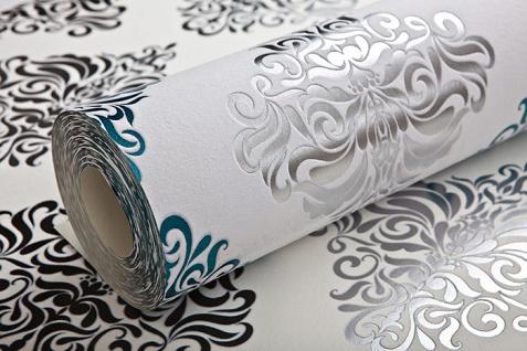 Barock Tapete EDEM 85024BR25 Vinyltapete glatt mit Ornamenten und metallischen Akzenten weiß türkis perl-enzian silber 5, 33 m2 - Vorschau 3