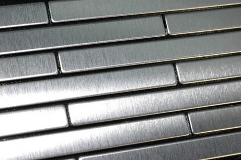 Mosaik Fliese massiv Metall Edelstahl gebürstet in grau 1, 6mm stark ALLOY Deedee-S-S-B 0, 63 m2 - Vorschau 4