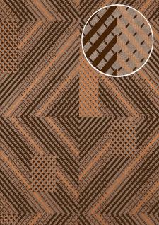 Grafik Tapete ATLAS XPL-564-1 Vliestapete strukturiert mit geometrischen Formen schimmernd silber anthrazit-grau dunkel-grau kupfer 5, 33 m2