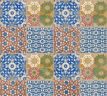 Stein Kacheln Tapete Profhome 368951-GU Vliestapete glatt im Ethno-Stil matt rot braun grün 5, 33 m2