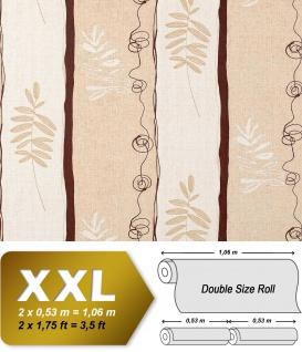 Streifen Tapete Vliestapete EDEM 685-91 XXL Designer Tapete florales Muster Breite Creme beige braun 10, 65 qm