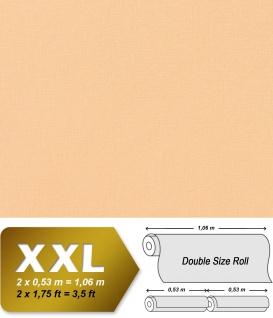 Uni Tapete XXL Vliestapete EDEM 903-13 Geprägte Struktur Textiloptik Unitapete Pastellfarben pfirsich hellorange 10, 65 m2
