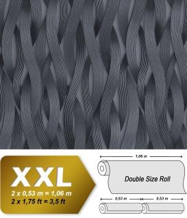 Streifen Tapete EDEM 81130BR29 Vliestapete strukturiert Ton-in-Ton und metallischen Akzenten platin silber anthrazit grau 10, 65 m2