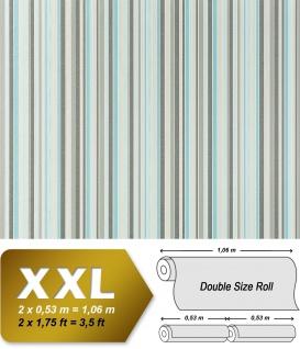 Streifen Vliestapete EDEM 967-27 XXL Streifen-Muster hochwertige Designer Tapete grau türkis 10, 65 qm