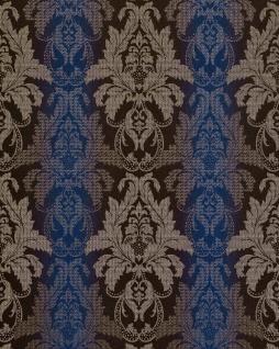 3D Barock-Tapete Damask EDEM 770-37 Luxus Tapete hochwertige Brokat Struktur dunkel-braun royal-blau silber