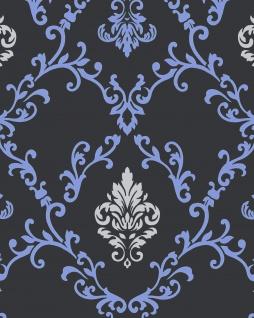 Barock Tapete EDEM 85026BR22 Vinyltapete glatt mit Ornamenten und metallischen Akzenten anthrazit dunkel-grau violett-blau silber 5, 33 m2