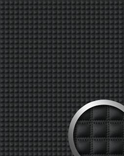 Wandpaneel Quadrat Leder WallFace 15032 QUADRO Blickfang EyeCatch Dekor selbstklebende Tapete schwarz 2, 60 qm