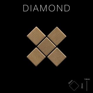 Mosaik Fliese massiv Metall Titan gebürstet in gold 1, 6mm stark ALLOY Diamond-Ti-GB 0, 91 m2 - Vorschau 2