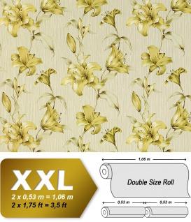 Vliestapete 3D Blumentapete Floral EDEM 978-32 Luxus design fühlbare Prägung hell-grün apfelgrün gelbgrün 10, 65 qm