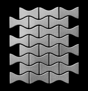 Mosaik Fliese massiv Metall Edelstahl gebürstet in grau 1, 6mm stark ALLOY Kismet-S-S-B Designed by Karim Rashid 0, 86 m2 - Vorschau 3