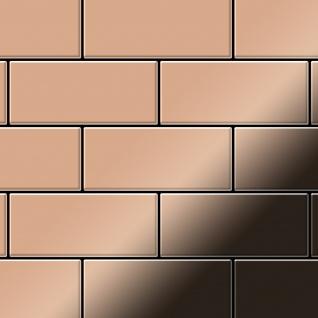 Mosaik Fliese massiv Metall Kupfer gewalzt in kupfer 1, 6mm stark ALLOY Subway-CM 0, 58 m2