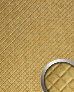 Wandpaneel Leder Design Karo Muster Wandplatte WallFace 17849 ROMBO Antigua Wandverkleidung selbstklebend gold | 2, 60 qm