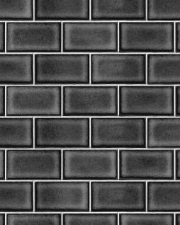 Grafik Tapete Profhome BA220108-DI heißgeprägte Vliestapete geprägt mit geometrischen Formen glänzend schwarz grau 5, 33 m2