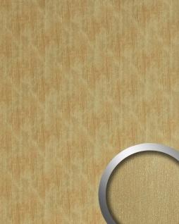 Wandpaneel Metalloptik WallFace 20201 SLIGHTLY USED Gold AR Wandverkleidung glatt im Used Look gebürstet selbstklebend abriebfest gold braun-beige 2, 6 m2