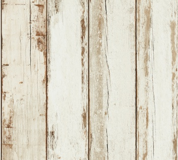 Holz Tapete Profhome 368931-GU Vliestapete glatt in Holzoptik matt creme braun schwarz 5, 33 m2
