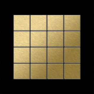 Mosaik Fliese massiv Metall Titan gebürstet in gold 1, 6mm stark ALLOY Cinquanta-Ti-GB 0, 94 m2 - Vorschau 3