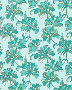 Blumen Tapete EDEM 072-22 Blumentapete Landhaus Floral Designer Vinyltapete Türkisblau lichtblau weiß gelb silber