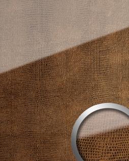 Wandpaneel Glas-Optik WallFace 16981 LEGUAN Dekor Wandverkleidung abriebfest selbstklebend kupfer braun 2, 60 qm