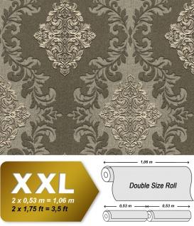 3D Barock Tapete EDEM 9123-28 heißgeprägte Vliestapete geprägt mit Ornamenten und metallischen Akzenten oliv braun-grün silber 10, 65 m2