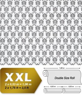 Barock Tapete XXL Vliestapete EDEM 656-90 Elegantes kleinformatiges Barockmuster Textil-Optik schwarz weiß 10, 65 m2