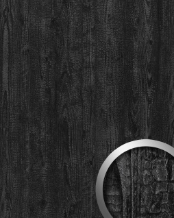 Dekorpaneel Natur Dekor WallFace 20158 Antigrav Carbonized Wood Wandverkleidung strukturiert in Holz Optik matt anthrazit grau 2, 6 m2