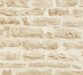 Stein Kacheln Tapete Profhome 355802-GU Vliestapete glatt in Steinoptik matt beige creme 5, 33 m2