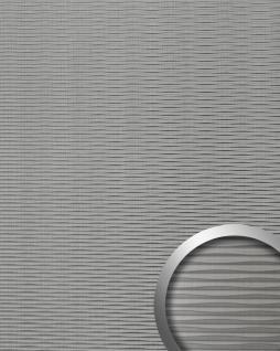 Wandverkleidung 3D Wellen-Struktur WallFace 15681 MOTION TWO Metalloptik Kunststoff selbstklebend grau brushed matt | 2, 60 qm
