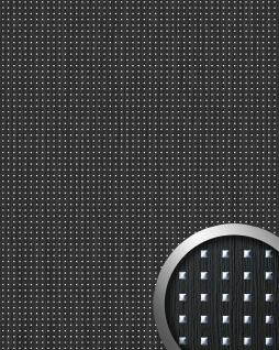 Wandpaneel Quadrat Dekor Holz Design WallFace 12549 3D QUAD Wandplatte selbstklebend schwarz silber 2, 60 qm
