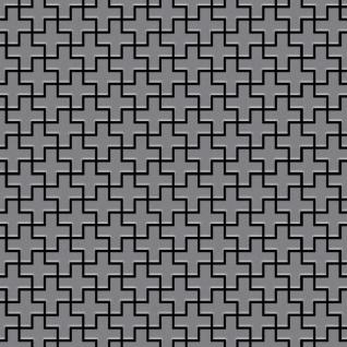 Mosaik Fliese massiv Metall Edelstahl matt in grau 1, 6mm stark ALLOY Swiss Cross-S-S-MA 0, 88 m2