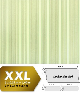 Streifen Tapete XXL Vliestapete EDEM 994-38 Heißgeprägte fühlbare Struktur Luxus Tapete hellgrün creme grau glitzer 10, 65 m2