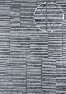Streifen Tapete Atlas 24C-5056-3 Vliestapete glatt mit grafischem Muster und Metallic Effekt silber platin grau-weiß 7, 035 m2