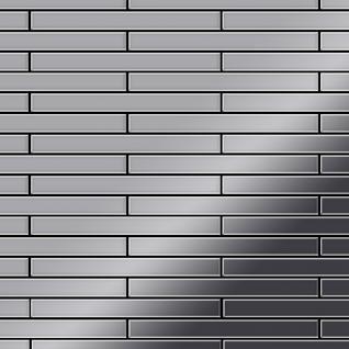 Mosaik Fliese massiv Metall Edelstahl marine hochglänzend in grau 1, 6mm stark ALLOY Avenue-S-S-MM 0, 74 m2