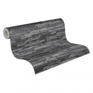 Stein Kacheln Tapete Profhome 914224-GU Vliestapete glatt in Steinoptik matt grau schwarz 5, 33 m2 - Vorschau 2