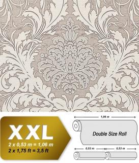 Barock Tapete EDEM 9017-34 heißgeprägte Vliestapete geprägt mit floralen Ornamenten glitzernd grau silber beige-grau 10, 65 m2