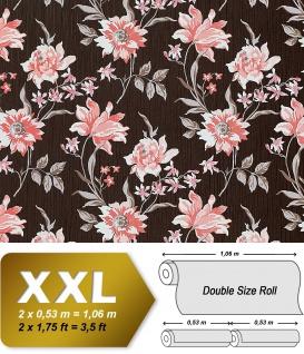 Blumen Tapete Vliestapete Landhaus Tapete EDEM 900-15 Floral hochwertige Textiloptik braun altrosa weiß grau 10, 65 qm