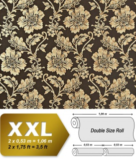 Blumen Tapete Luxus Vliestapete XXL EDEM 995-36 Florale Barock-Optik Metallic Effekt braun beige gold metallic 10, 65 m2
