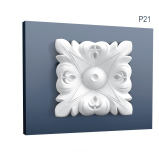 Eckelement Stuck Orac Decor P21 LUXXUS Eckplatte Quadrat Zierelement Gesims Decken Wand Leiste Blätter Dekor 6 x 6 cm