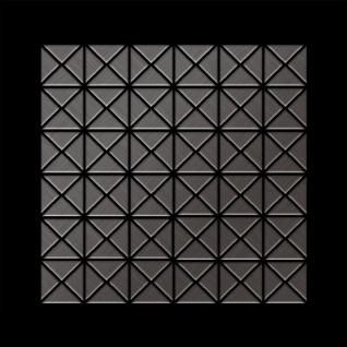 Mosaik Fliese massiv Metall Titan gebürstet in dunkelgrau 1, 6mm stark ALLOY Deco-Ti-SB 0, 92 m2 - Vorschau 3