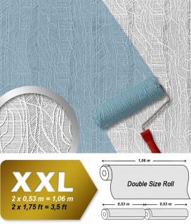 Struktur Tapete Streichbar EDEM 341-60 25 Meter überstreichbare Vlies-Tapete kreative dekor-optik weiß   26, 50 qm