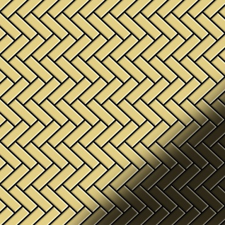 Mosaik Fliese massiv Metall Messing gewalzt in gold 1, 6mm stark ALLOY Herringbone-BM 0, 85 m2