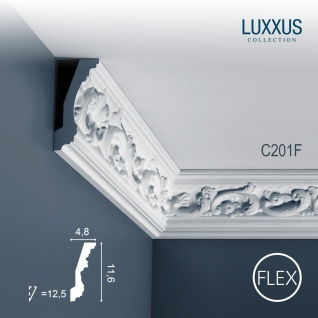 Zierleiste Orac Decor C201F LUXXUS flexible Eckleiste Stuck Leiste Profilleiste Stuckdekor Decken Wand Leiste | 2 Meter